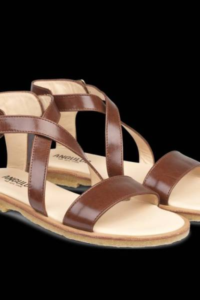 Sandal with buckle leather brown Angulus