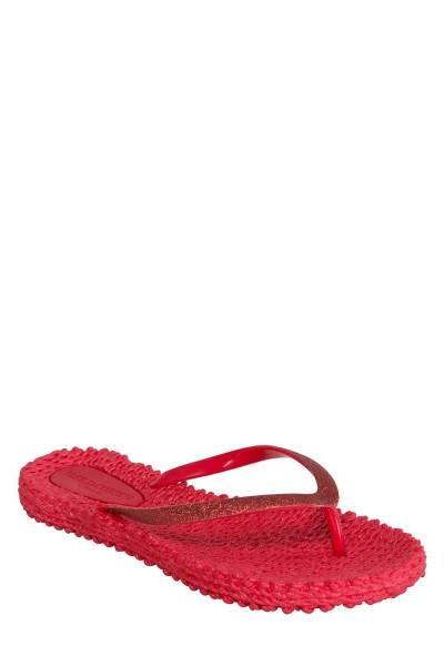 Flipflops with glitter deep red Ilse Jacobsen