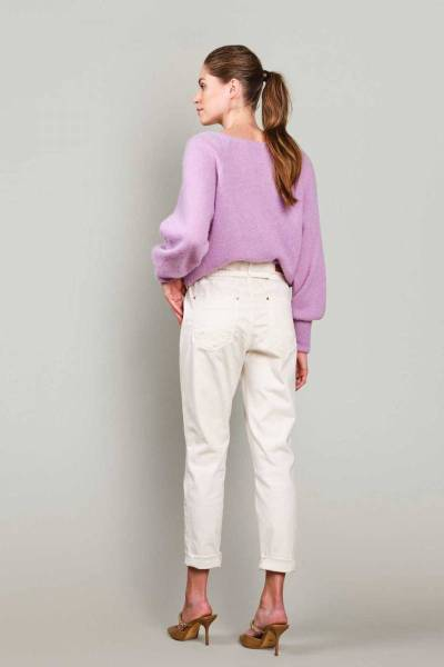 Tapered pant fine twill soft taupe Summum