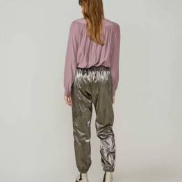 Trousers coated fabric dark taupe Summum