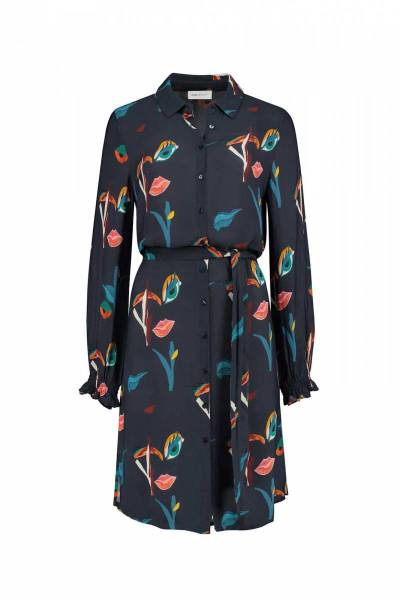 Winks ans kisses moody blue dress Pom Amsterdam