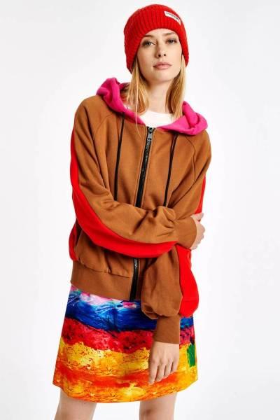Amery 3 colours hoodie C2 coral/queen Essentiel
