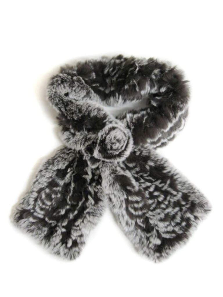 Knitted-REX-Chinchilla-Rosette-Scarf