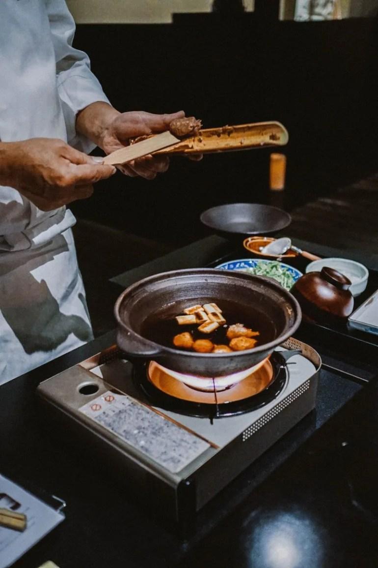 Dinner prep at Beniya Mukayu