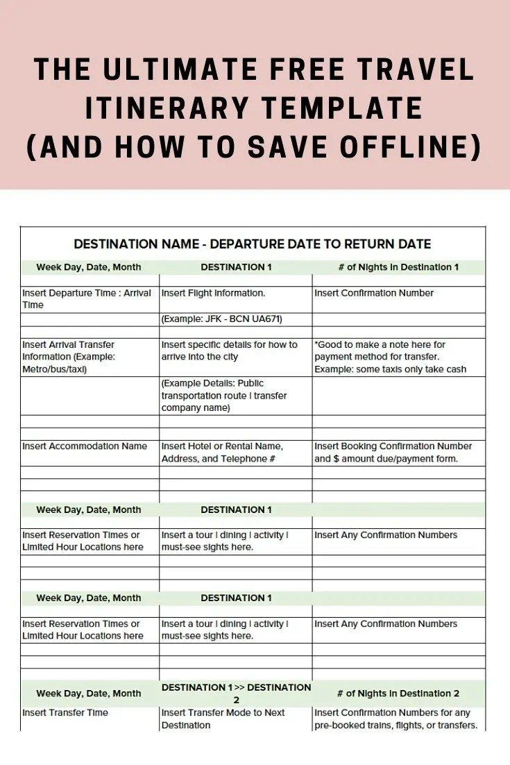 The Ultimate Free Travel Itinerary Template Bon Traveler