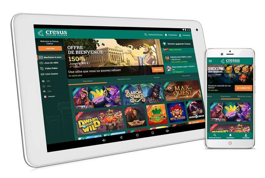 cresus casino disponible sur smartphone. bonus et critique casino en ligne france