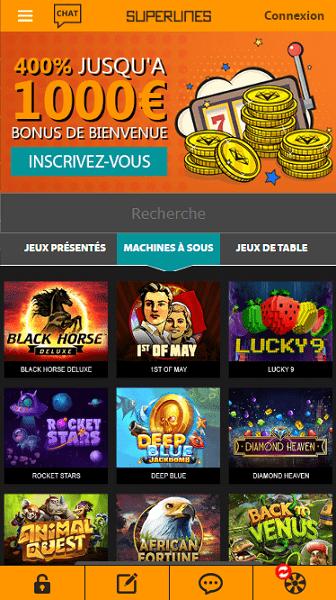 Casino Superlines casino en ligne serieux et securisé sur mobile