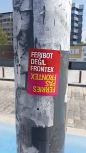 Fähren statt Frontex - Aufkleber in Izmir