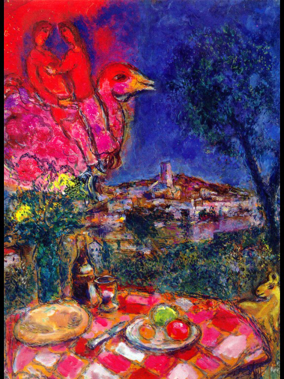 Chagall : laid-table-with-view-of-saint-paul-de-vance-1968