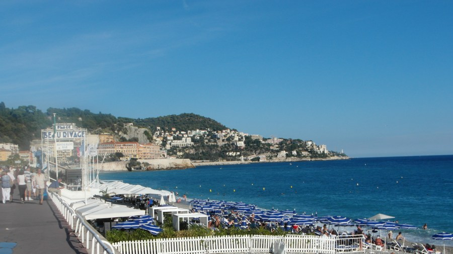 Plage Beau Rivage in Nice France on the Cote d'Azur French Rviera
