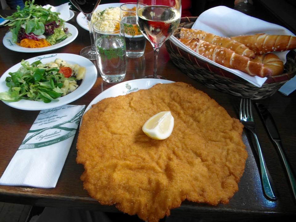 Wiener Schnitzel platter at Figlmüller restaurant