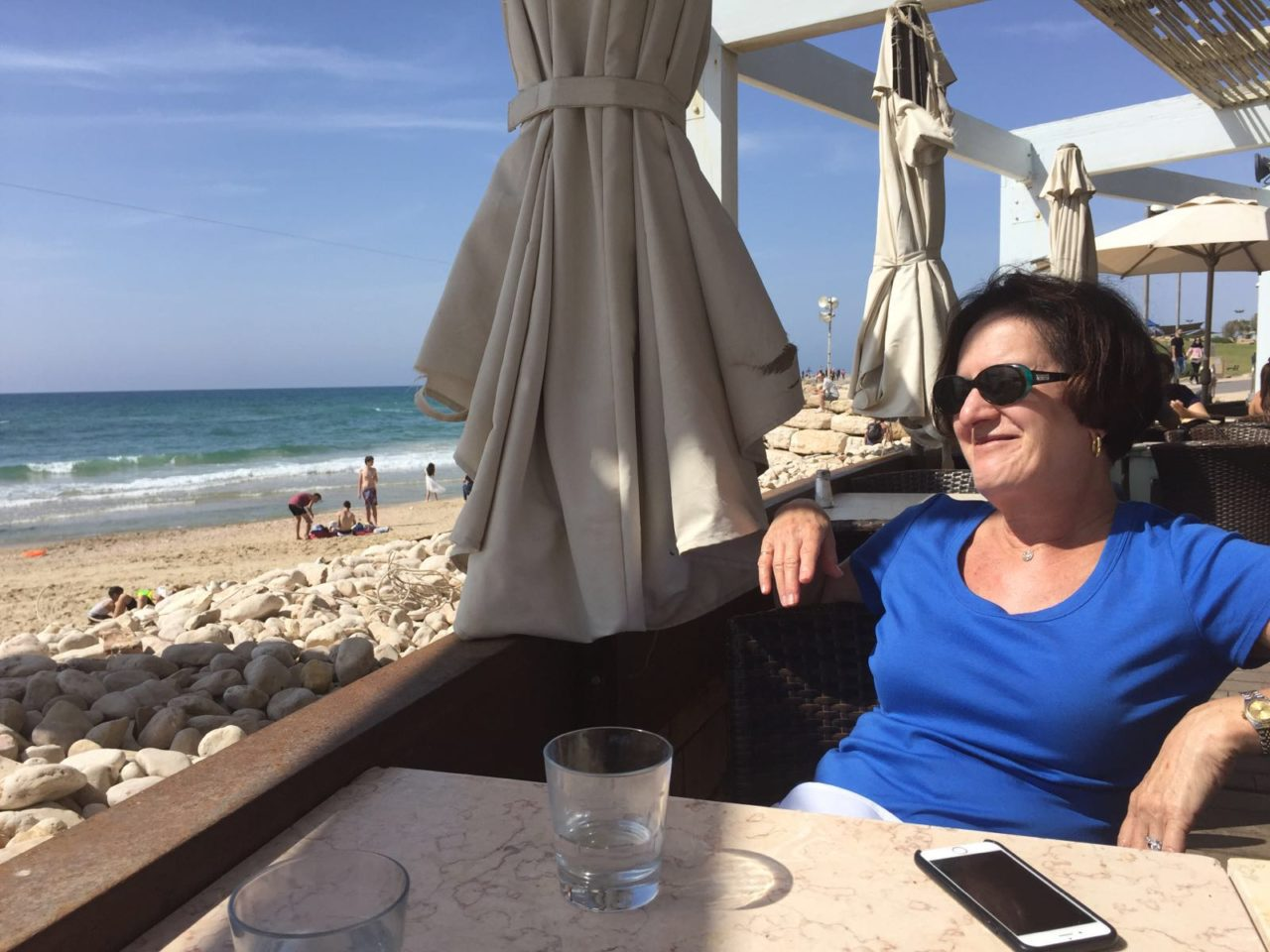 Vacationing in Israel ... Enjoying the view at Manta Ray Restaurant on the Tel Aviv Beach