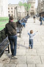 child walking at Tower of London