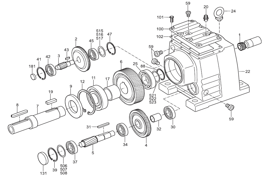 Foot Mounting helical AC Gear reduction motor inline gear