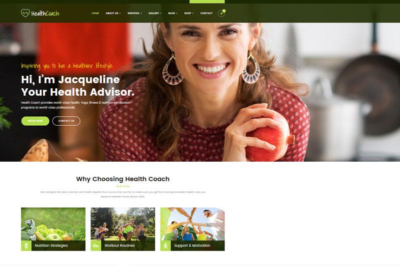 health coach super website templates voor vrouwen
