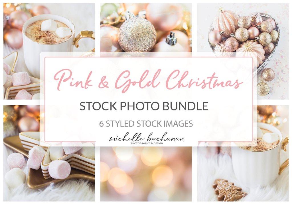 Roze en goud kerst stock foto's www.booest.nl