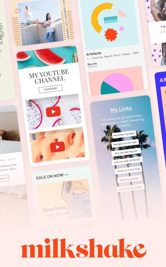 Milkshake app is een zeer leuke app om mooie landingspagina's te maken voor links vanuit je social media.