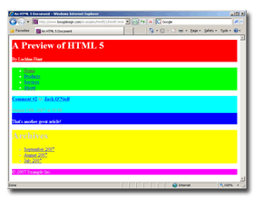 Styled HTML 5 in IE 8