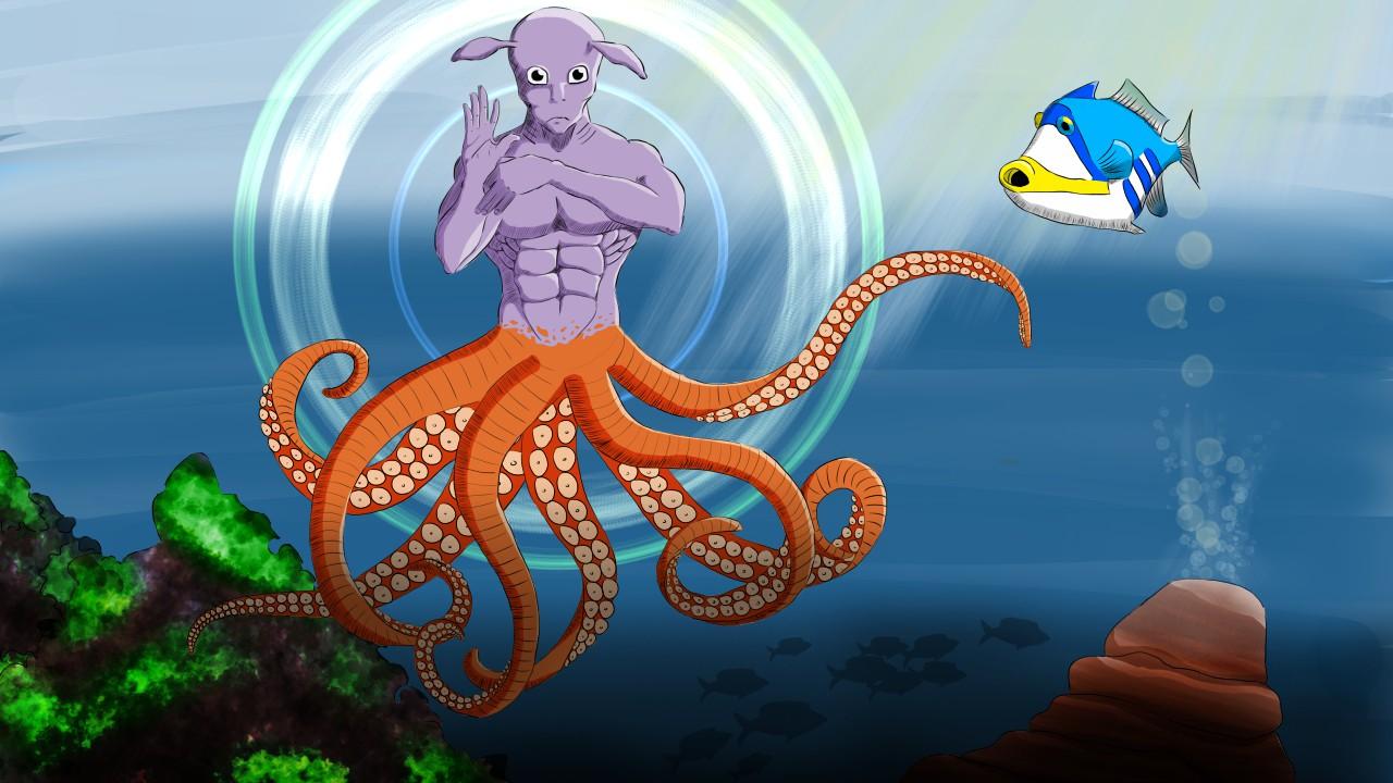 Digital painting d'une créature marine fantastique