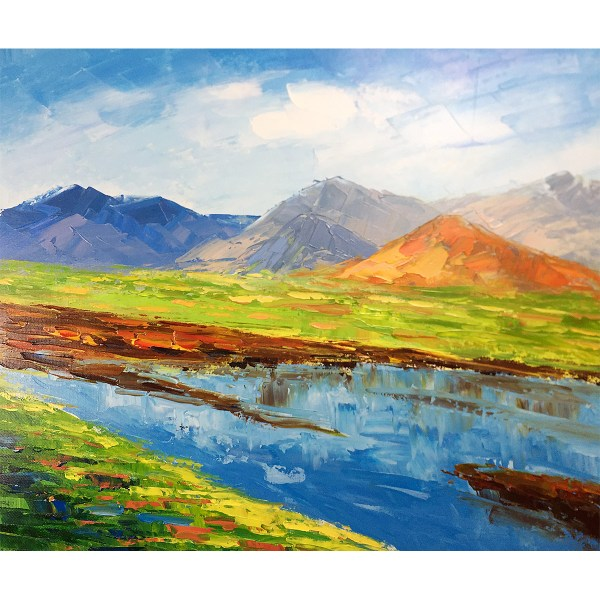 Modern Paintings River Mountain Abstract Acrylic Landscape
