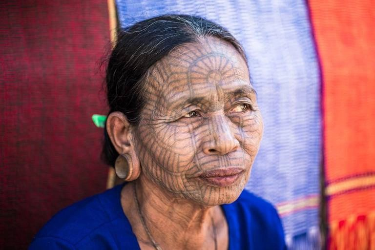 Tattooed woman in the Chin State of Myanmar