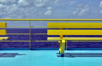 Top deck of a ferry from Playa del Carmen to Cozumel, Mexico