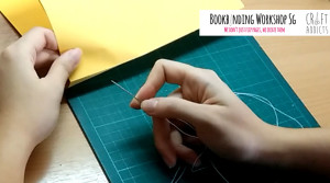 casebinding-start sewing from the outside of your 1st book signature