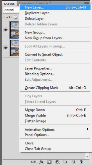 an example of a fly-out menu, in this case, accessed from the layers panel