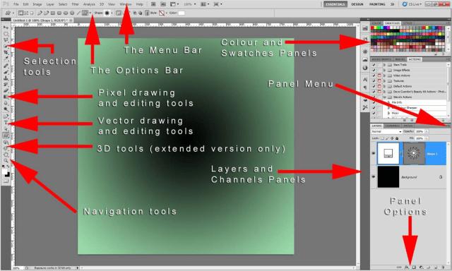 the default Adobe Photoshop workspace layout