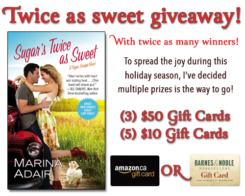 Giveaway Interview SUGAR'S TWICE AS SWEET Blog Tour With Marina Adair @MarinaEAdair @ForeverRomance