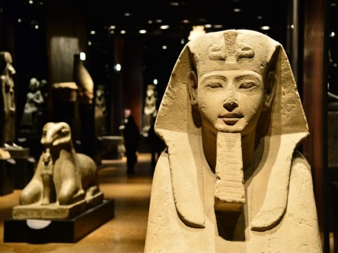 """A Sphinx is pictured in the Statuary room at the Egyptian Museum in Turin on November 7, 2013. The """"Museo delle Antichit? Egizie"""" in Turin is the only museum other than the Cairo Museum that is dedicated solely to ancient Egypt art and culture. AFP PHOTO / GIUSEPPE CACACE (Photo credit should read GIUSEPPE CACACE/AFP/Getty Images)"""