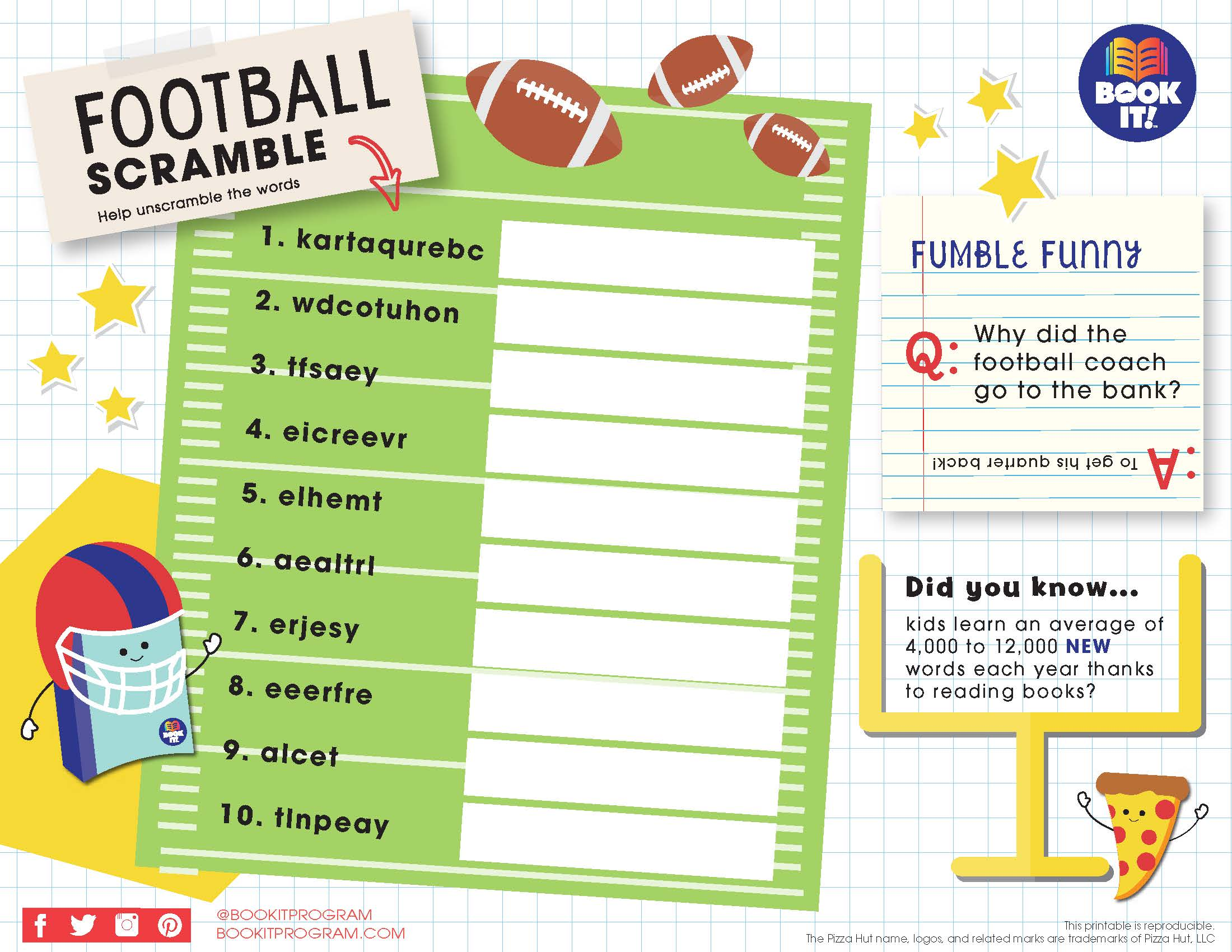 Football Word Scramble