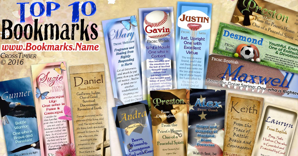 name meaning bookmarks personalized