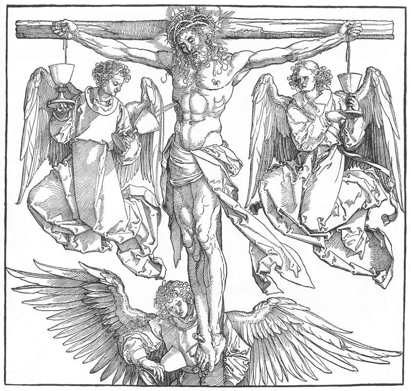 Christ on the Cross with Three Angels DURER, Albrecht