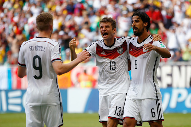 Thomas Muller (center) notched a hat trick to lead Germany past Portugal. (Getty Images)