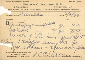 William Carlos Williams prescription pad