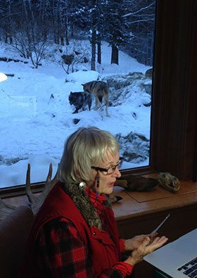 What a way to make a Skype visit with wolves in the background at the International Wolf Center in Ely, Minnesota.