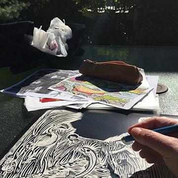 Claudia McGehee scratchboard art