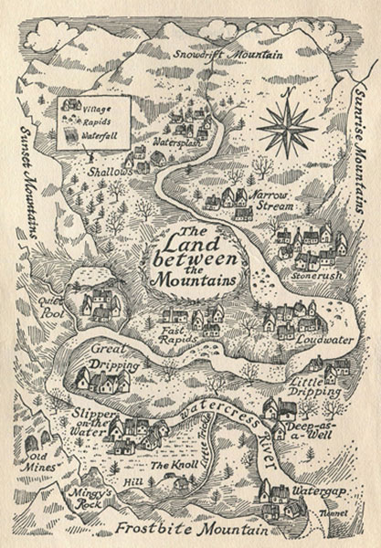 Land Between the Mountains map from The Gammage Cup