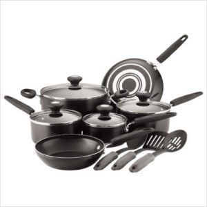 Culinary+Colors+Nonstick+Aluminum++Piece+Cookware+Set+in+Black