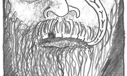 "comic drawing close up of bearded man saying ""pussy"""