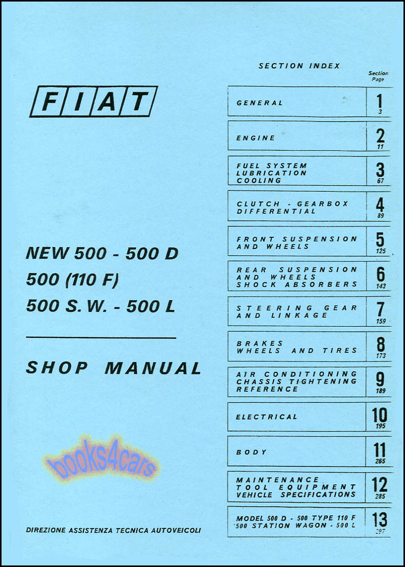 hight resolution of details about fiat 500 shop manual book service repair abarth topolino nouva 500l 500d puch gt