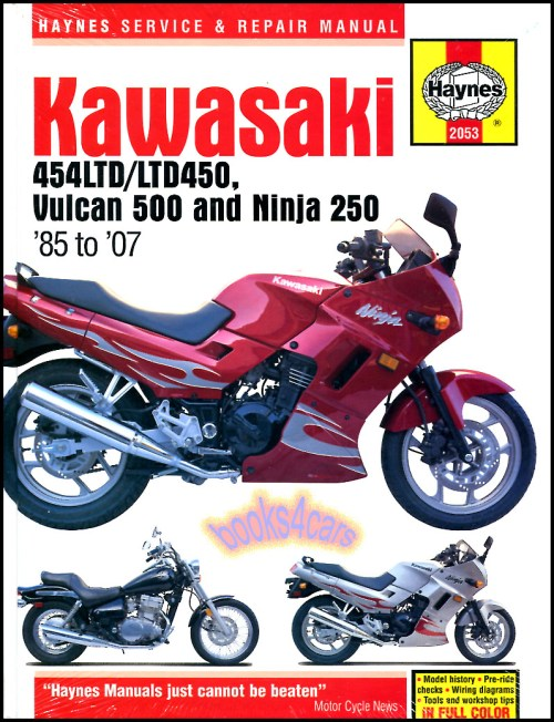 small resolution of real book over 250 page shop service repair manual for 1985 1990 n450 1990 2007 en500 vulcan 500 1986 2007 e250 ninja ninja r with a complete step by
