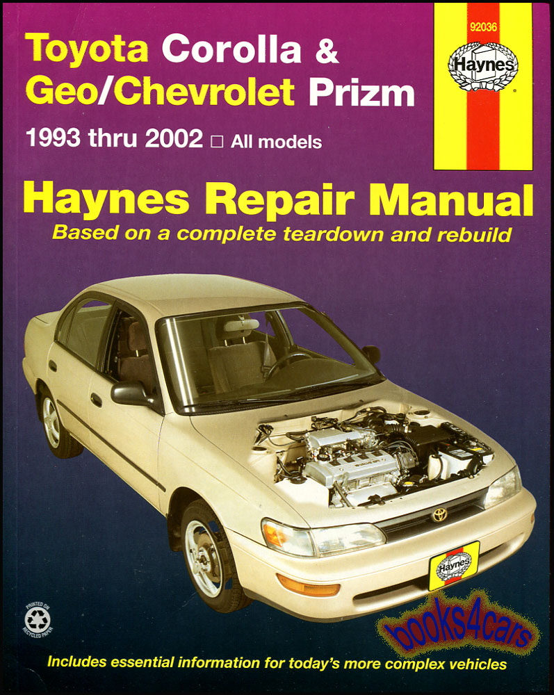 hight resolution of real book over 250 page bumper to bumper shop service repair manual for 1993 2002 toyota corolla geo chevrolet prizm by haynes with service repair