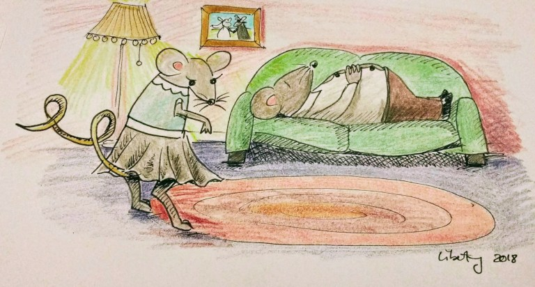 Mama Mouse with a curly tail and Mr. Mouse asleep on the sofa
