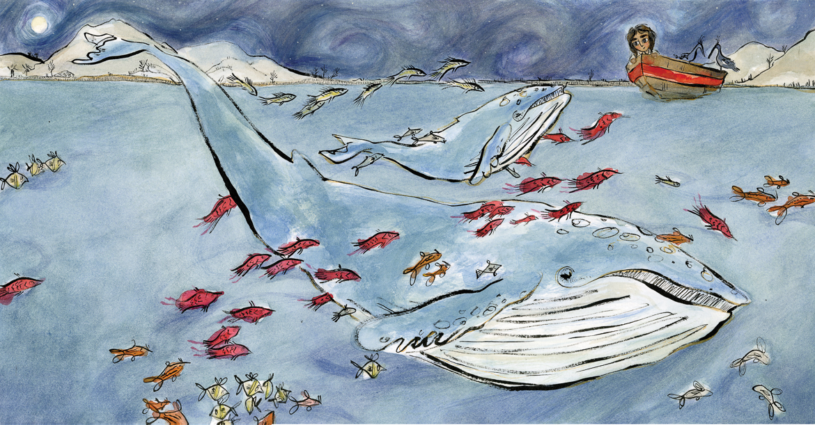 Whales & fish ocean illustration, girl in rowboat