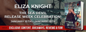 TheSeaDevil Badge 300x111 The Sea Devil By USA Today Best Selling Author Eliza Knight   Release Week Celebration with Review, Excerpt and Giveaway!