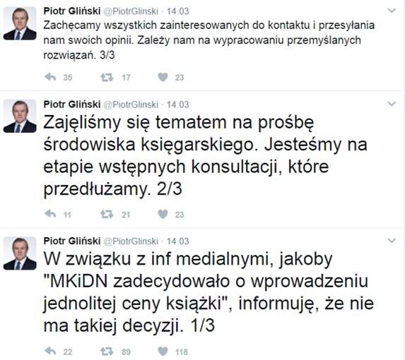 Ustawa o stałej cenie książki Piotr Gliński twitter