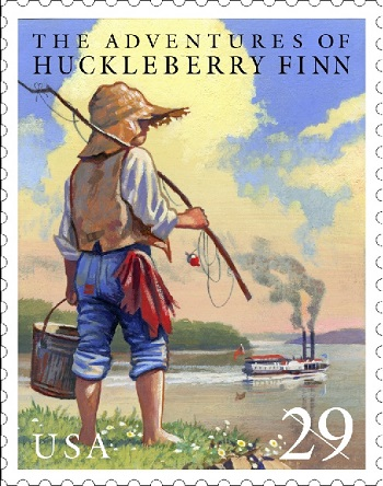 Mark Twain Huck Finn na znaczku