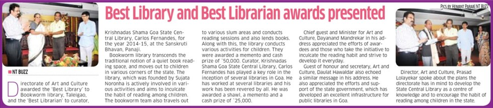 Best Library Award Bookworm - Navhind Times Report 25th May 2016